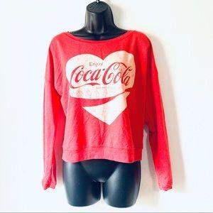Coca-Cola Wide Neck Cherry Red Sweatshirt Size M